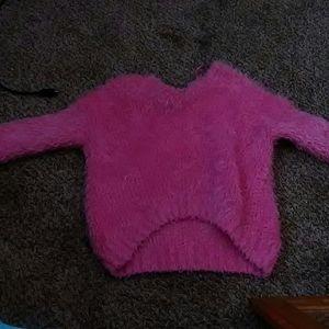 pink furry crop top
